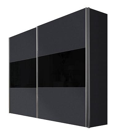Solutions 46900-972 Schwebeturenschrank 2-turig, Griffleisten Alufarben, Korpus/Front: Graphit / Glas-schwarz