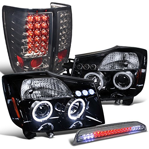 Titan Glossy Black Led Halo Projector Headlights+Led Tail+3Rd Brake Lamp