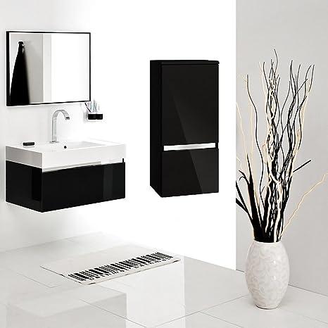 Set di mobili da bagno con lavandino specchio mobiletto pensile in ceramica armadietto sotto lavabo 60cm bagno set nero lucido premontato