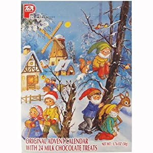 Santa and Snow PeA German Advent Calendar with Chocolate Gifts Inside