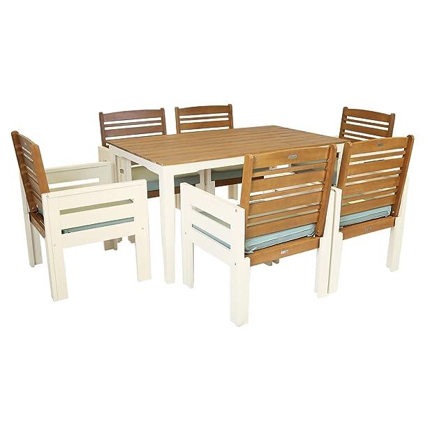 FSC Eucalyptus da giardino in legno da pranzo Mobili - grande tavolo e 6 sedie Patio Set Crema - 7 centimetri Cuscino Deluxe