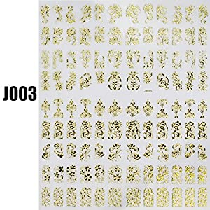 Gold Nail Water Stickers Decals 108pcs/sheet Nail Design Manicure