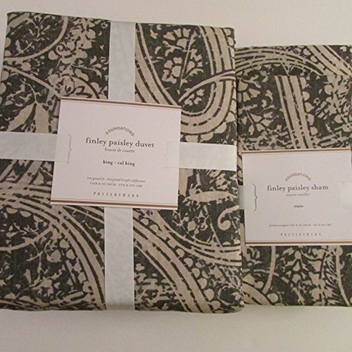 Pottery Barn Finley Paisley Duvet Cover King/California King & Two Euro Shams~*Anthracite*~ front-485505