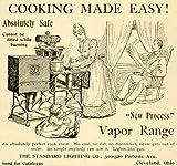 1893 Ad Standard Lighting Vapor Range Vintage Kitchen Stove Housewife Cooking - Original Print Ad
