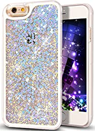 iPhone 6S Plus Case, NSSTAR iPhone 6S/6 Plus Quicksand Liquid Bling Glitter Hard Case,Creative Design Flowing Floating Liquid Bling Sparkle Glitter Love Heart Hard Case for iPhone 6S/6 Plus [Blue]