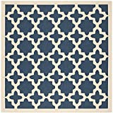 "Safavieh Courtyard Collection CY6913-268 Navy and Beige Square Area Rug, 7 feet 10 inches by 7 feet 10 inches Square (7'10"" x 7'10"" Square)"