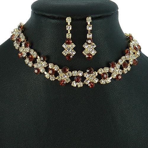 Gold and Dark Topaz Crystal Rhinestone Choker Necklace Set