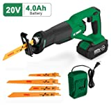 Cordless Reciprocating Saw - 20V 4.0Ah Compact Saw w/Li-Ion Battery&Charger, 4 Saw Blades, Variable Speed, 3/4 Stroke Length, Tool-Free Blade Change Ideal for Metal & Wood Cutting Pruning-KIMO 23802 (Color: Green Reciprocating Saw, Tamaño: Compact Cordless Reciprocating Saw)