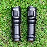 Albrillo Tactical Flashlight LED Torch, Mini Flashlights Adjustable Focus Zoomable, Bright 3 Mode, 2 Pack