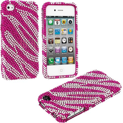 Mylife (Tm) Hot Pink And Silver Zebra Stripes - Rhinestone Series (2 Piece Snap On) Hardshell Plates Case For The Iphone 4/4S (4G) 4Th Generation Touch Phone (Clip Fitted Front And Back Solid Cover Case + Rubberized Tough Armor Skin)