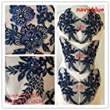 Hand Beaded Flower Sequence 3D Lace Applique Motif Sold by 3 Pairs Great for DIY Decorated Craft Sewing Costume Evening Bridal Top A6 (Navy Blue) (Color: Navy Blue)