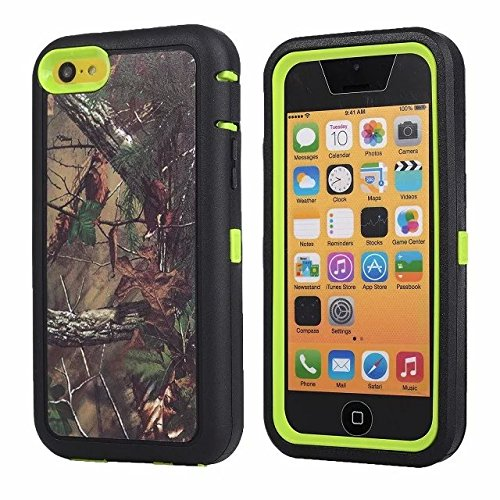For Iphone 5c Case - FiversTM Heavy Duty Case 3 in 1 Three Advantages Waterproof Dustproof Shakeproof with Forest Camouflage Desig Cell Phone Cases for Iphone 5c Tree- Green