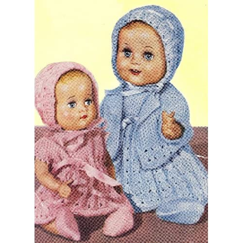 Vintage Knitting PATTERN to make 10 12 inch Baby Doll Clothes Dress Bonnet. N...