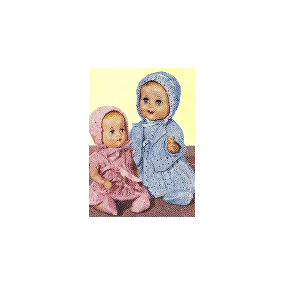 Knitting Patterns For 10 Inch Dolls Clothes : Vintage Knitting PATTERN to make 10 12 inch Baby Doll ...