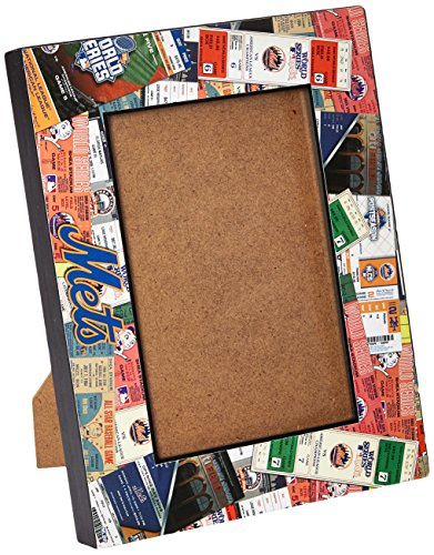 MLB New York Mets Wooden Ticket Collage Picture Frame, Black, 4 x 6
