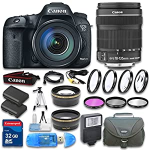 Canon EOS 7D Mark II DSLR Camera + Canon EF-S 18-135mm f/3.5-5.6 IS STM Lens + Wideangle Lens + Telephoto Lens + 32 GB SD Card + 3 PC Filter - International Version
