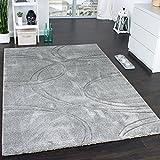 Teppich Einfarbig Designerteppich mit Handgearbeitetem Konturenschnitt Uni Grau