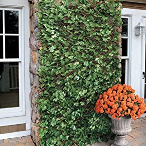 Wooden Expandable Artificial Faux Ivy Leaf Trellis Privacy