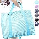 【iHappiness】 キャリーオンバッグ 旅行バッグ スーツケース装着可能 全6色 (ブルーストライプ)