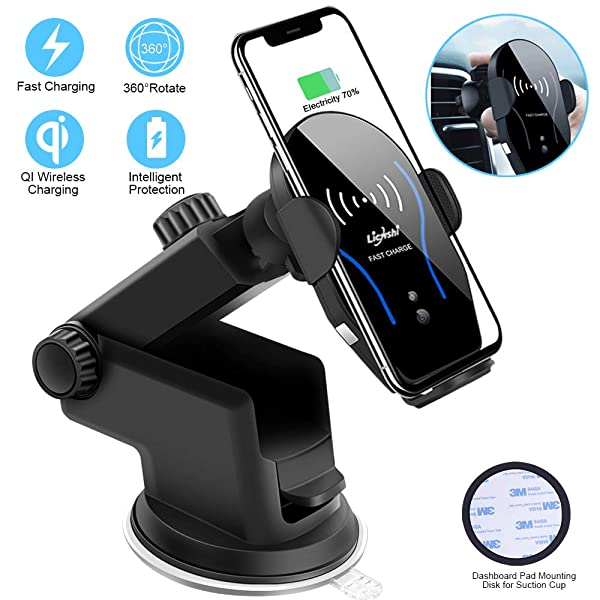 Wireless Car Charger Mount Automatic Clamping Air Vent Dashboard Support Qi Enabled Fast Charging Infrared Sensor Compatible with Qi Enabled Phone iPhone XS MAX//XR//XS//X//8//8 Plus Samsung Galaxy S9//8//7// Elle Star 4351512037