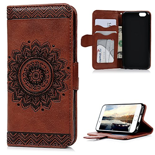 iPhone 6S Case, iPhone 6 Case, YOKIRIN Unique Design Premium PU Leather Dream Catcher 3D Relief Embossing Cover with Credit Card Holder Kickstand Magnetic Closure for iPhone 6 / 6S - Brown