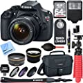 Canon EOS Rebel T5 18MP SLR Digital Camera & EF-S 18-55mm IS II Lens Kit + Accessory Bundle 64GB SDXC Memory + DSLR Photo Bag + Wide Angle Lens + 2x Telephoto Lens + Flash + Remote + Tripod & More