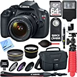 Canon EOS Rebel T5 18MP SLR Digital Camera & EF-S 18-55mm IS II Lens Kit + Accessory Bundle 64GB SDXC Memory + DSLR Photo Bag + Wide Angle Lens + 2x Telephoto Lens + Flash + Remote + Tripod & More