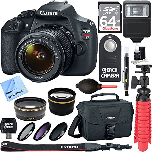 Canon-EOS-Rebel-T5-18MP-SLR-Digital-Camera-EF-S-18-55mm-IS-II-Lens-Kit-Accessory-Bundle-64GB-SDXC-Memory-DSLR-Photo-Bag-Wide-Angle-Lens-2x-Telephoto-Lens-Flash-Remote-Tripod-More