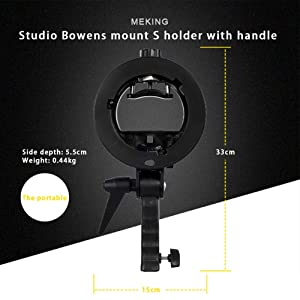 Meking Portable S-Type Bracket Holder S Mount Holder with Bowens Mount + Grip Handle for Speedlite Flash Snoot Softbox Beauty Dish Reflector Umbrella Honeycomb Grip_2 Pack