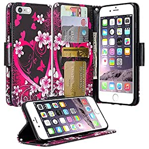 iPhone 7 Plus Case, Apple iPhone 7 Plus Wallet Case, SOGA [Pocketbook Series] PU Leather Magnetic Flip Design Wallet Case for Apple iPhone 7 Plus - Pink Heart With Flower