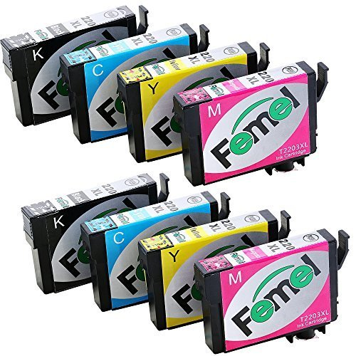 FEMEL High-Capacity Compatible Ink Cartridge Replacement for Epson T220XL with the Latest Chips (2Black/2Cyan/2Magenta /2Yellow) Use in Epson XP-320 XP-420 XP-424 WF-2630 WF-2650 WF-2660 Printers