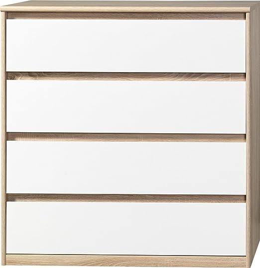 CS Schmalmöbel 75.012.051/22 Grifflose Kommode Soft Plus Smart Typ 22, 45 x 106 x 110 cm, eiche/weiß