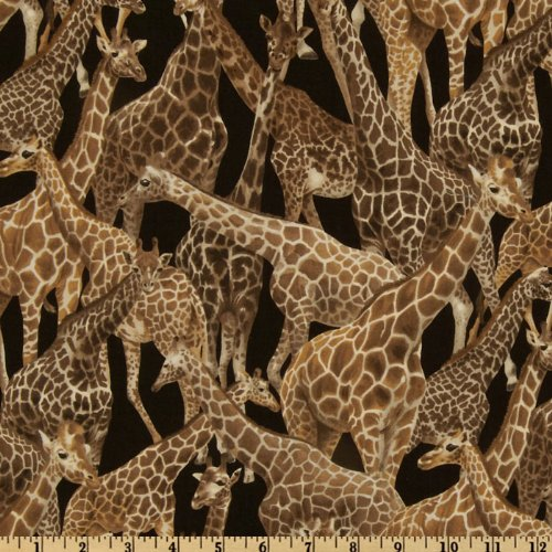 Living Wonders Giraffes Black/Brown Fabric By The Yard (Giraffe Quilt Fabric compare prices)