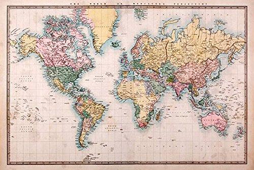 Weltkarte als Poster | Topografische Weltkarte im Vintage-Stil