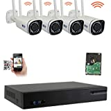GW 9 Channel 5MP H.265 5X Motorized Zoom Wireless WiFi Security Camera System (NVR Kit) - 4 x 5MP HD 1920P Video & Audio Waterproof Wireless Cameras Built-in Microphone, 130FT IR Night Vision (Color: 8CH 4K NVR + 4 Pcs 5MP Motorized Zoom Wifi Camera, Tamaño: 4 Camera System)