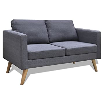 vidaXL Sofa 2-Sitzer Polstersofa Stoffsofa Loungesofa Couch Holz Design Sitzmöbel Möbel
