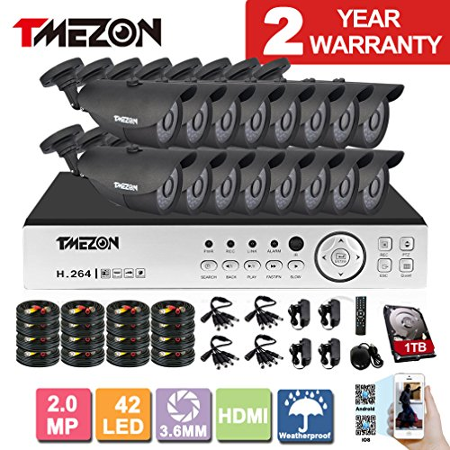 [Better Than 1080N]TMEZON 16CH 1080P AHD Video DVR Security System 16 AHD 2.0MP Super Night Vision 42 IR LEDs HD Outdoor Security Camera QR Code Scan Easy Setup with 2TB HDD