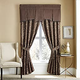 Croscill Sancerre 4-piece Pole Tp Drapery - Window Curtain Set - Chocolate Brown Taupe