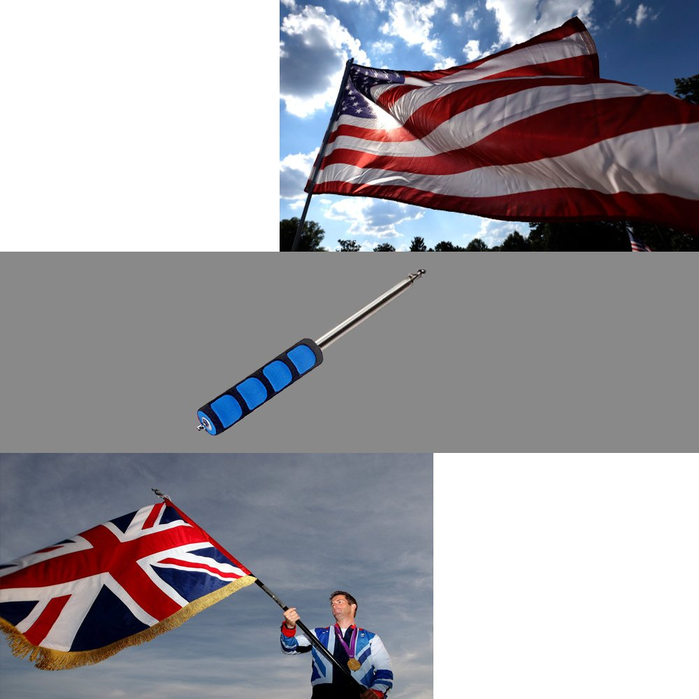 """Telescoping Flagpole,Stainless Steel Banner Tour Guide Teachers Flag Sign Collapsable Pole (79"""")1 pc"""