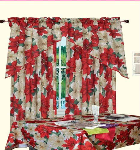 Poinsettia Window Curtains Christmas Wikii
