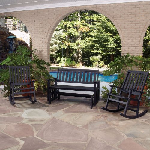 Home Styles 5660-5984 Bali Hai Outdoor Glider Bench and Two Rocking Chairs Washed Black Finish