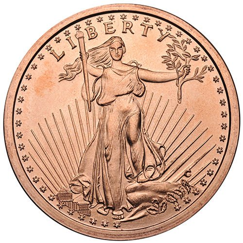 1 Ounce Saint Gaudens Copper Round - 1