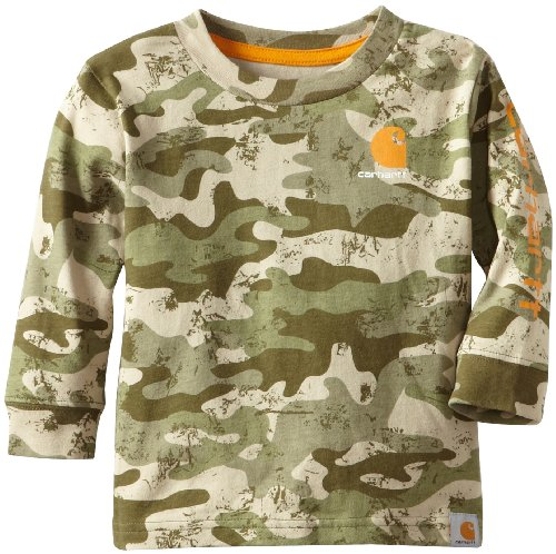 Carhartt Baby-Boys Infant Camo Logo Long Sleeve T-Shirt, Green Camo, 12 Months front-862320