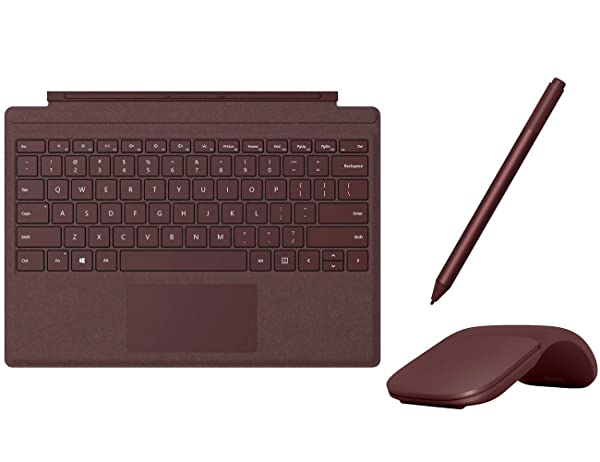 Microsoft Surface Pro Type Cover with Trackpad, Mechanical Key, Surface Pen and Arc Mouse Business Accessories Combo, for Surface Pro 6, Pro, Pro 3, Pro 4 (Burgundy) (Color: Burgundy)