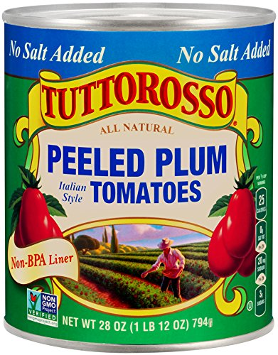 Tuttorosso No Salt Added Peeled Plum Tomatoes, 28oz Can (Pack of 12) (Plum Salt compare prices)