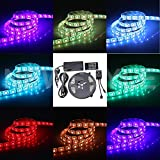 NEWSTYLE 5M 5050SMD Waterproof 150LEDs RGB Flexible Color Changing LED Strip Kit with 20-key Music Sound Sense IR Controller + 12V 5A Power Supply For Xmas Lighting Indoor Outdoor Backlighting Wedding Decoration