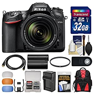 Nikon D7200 Wi-Fi Digital SLR Camera & 18-140mm VR DX Lens with 32GB Card + Backpack + Battery/Charger + Filter + Remote + Kit