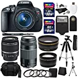 Canon EOS Rebel T5i 18.0 MP Digital SLR Camera with 18-55mm STM Lens + Canon EF 75-300mm f 4-5.6 III Lens + .43x High Definition Wide Angle Lens With Macro Attachment + 2.2X High Definition Telephoto Lens Travel Kit + 40 GB Storage + Tripod + Extra Accessories