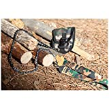 """Perfect Pocket Chain Saw - 24"""" Survival Handsaw with Camouflage Pouch, Snap Buckle Closure with Belt Loop - Best Uses: Camping Saw - Hunting & Fishing - Perfect Outdoor Accessory for Backpackers & Hikers - Survival Gear Supply Cache - Gather wood for a signal fire, warmth or shelter. Whistle through 3""""- 5"""" limbs - Tough Nylon Handles"""