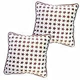 Belive-Me Stylish Velvet Stars White Cushion Covers (Set Of 2)